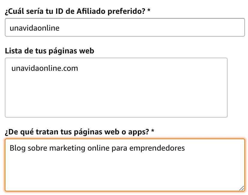 Campos web Amazon