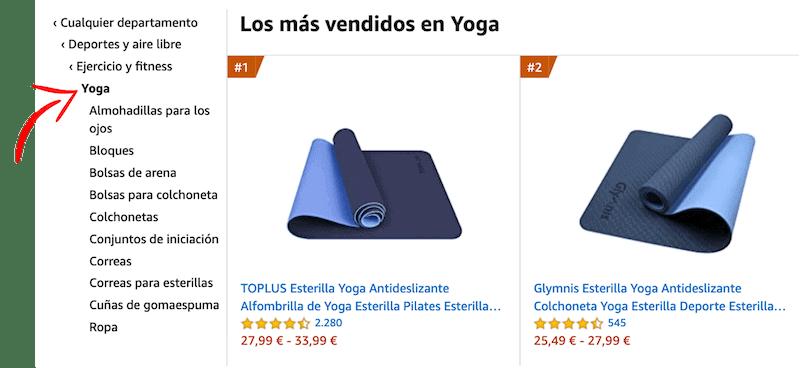 Categorías de productos en Amazon